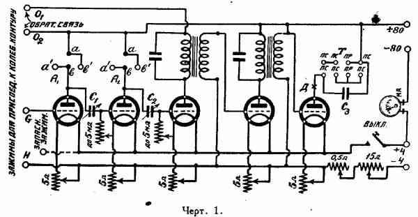 Принципиальная схема усилителя представлена на черт.  1. Как видно из представленной схемы, колебательный контур в...