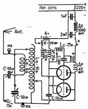 Это затрудняет показания четырехвольтовыми лампочками работы передатчика.  В... Схема передатчика (рис. 1)...